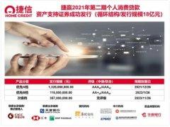 捷信成功发行其2021年第二期个人消费贷款资产支持证券